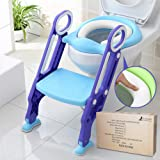 Potty Training Seat for Kids, ITOY&IGAME Toilet Seat for Potty Training Step Trainer Ladder Toilet Training Potty Seat Sturdy Comfortable Built In Non-Slip Steps soft Pad for Baby Boys Girls (Color: Blue Purple)