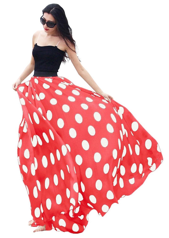 Chiffon Polka Dot Print High-waist Summer Long Maxi Skirt on amazon