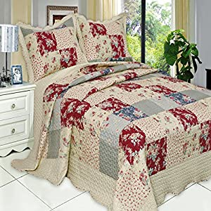 Quilt Coverlet Set Full Queen Double Size French Country Flowers Floral Patchwork Pattern Wrinkle Free Lightweight Reversible Hypoallergenic Bedding Oversized