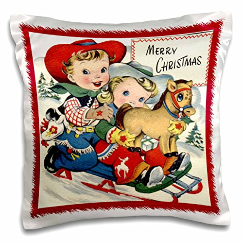 Sandy Mertens Vintage Christmas Designs - Little Cowboy and Cowgirl with Toy Pony Sledding - 16x16 inch Pillow Case (pc_172807_1) (Vintage Cowboy Decor compare prices)