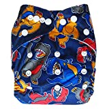 Ecoable All-In-One Bamboo Inner Cloth Diaper/Sewn-In Insert, Dinosaur