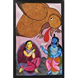 """Dolls Of India """"Jatayu Battles With Ravana To Rescue Sita"""" Kalighat Painting - Water Color On Paper - Unframed..."""