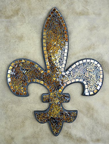 Lulu decor fleur de lis mosaic wall plaque wall decor new free shipping - Plaque de decoration ...