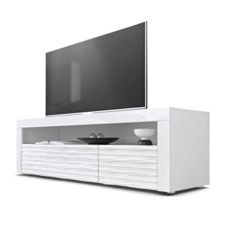 TV Stand Unit Valencia, Carcass in White matt / Front in White High Gloss Harmony with a milled 3D Structure and frames in White High Gloss