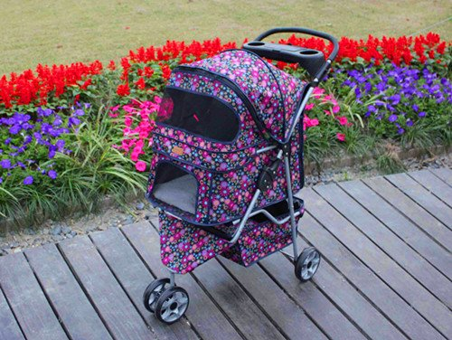 fashion flower 3 Wheels Pet Dog Cat Stroller w/RainCover