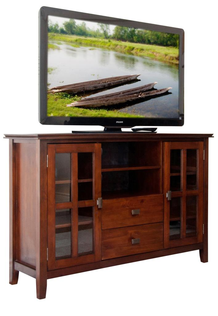 54 inch width by 36 inch height tv stand medium auburn brown 1 pack