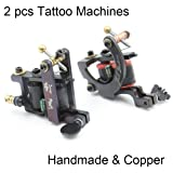 Coil Tattoo Machine Gun Kit - CINRA Black Coil Steel Tattoo Frame Tattooing Gun Liner and Shader for Tattoo Kit,Tattoo Ink,Tattoo Supplies Including 2 pcs 10 Wrap Copper Coil Tattoo Machines