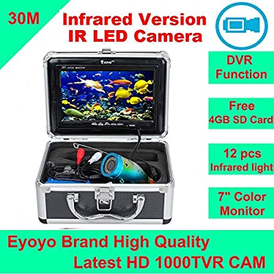 "Eyoyo Original 30M 1000TVL HD CAM Professional Fish Finder Underwater Fishing Video Recorder DVR 7"" Color Monitor Infrared IR LED lights + 4GB SD card"