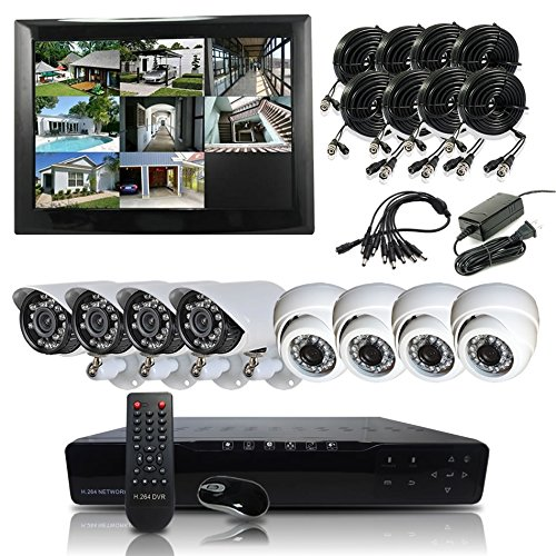 Hq-Cam 8-Channel H.264 Dvr Security Surveillance Camera System With 4 X 600Tvl Infrared Weatherproof Bullet Cameras&4 X 600Tvl Infrared Indoor Dome Cameras For Cctv Day And Night Home Security 1Tb Hdd Pre-Installed