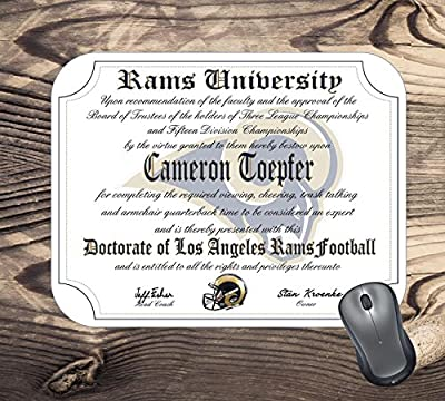 Los Angeles Rams Ultimate Football Fan Personalized Diploma Mouse Pad - Perfect Gift