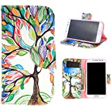 For Galaxy S4 , TUTUWEN [Tree and Leaf] New Style [Magnetic] Wallet PU Leather [Stand] Flap Closure Case Flip Protective Cover for Samsung Galaxy S4 SIV i9500