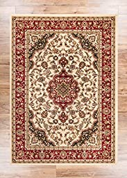 Noble Medallion Ivory Persian Floral Oriental Formal Traditional Rug 2x7 ( 2\'3\
