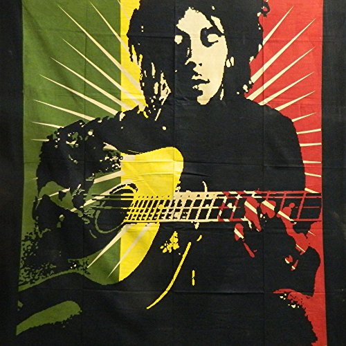 Colcha Bob Marley Guitarra 210x140cm negro algodón Cortina decoración