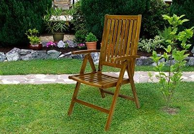 DIVERO Stuhl Akazie Holz Hochlehner 5-fach verstellbar klappbar Gartenstuhl von Nexos Trading auf Gartenmöbel von Du und Dein Garten