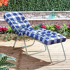 Alfresia Traditional Luxury Sun Lounger Cushion in Blue Check