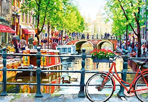 Puzzle 1000 Teile - Amstersdam - Hausboot mit Brücke & Grachten - Zeichnung - Gemälde - Straße - Fahrrad Holland / Niederlande - Stadt - Landschaft romantisches Motiv - Gracht - Blumen