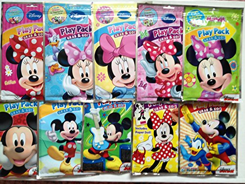 All Mickey & Minnie Mouse Playpack Grab & Go Bundle Goodie Set - 10 Assorted Minnie & Mickey Play Packs, Minnie - Wood Puzzle, Stickerbook, Coloring Book, Crayons, Jumbo Eraser & All Bundled In Large Woven Minnie Mouse Reusable Tote Bag front-85413