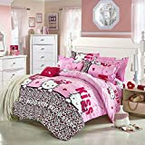 Ttmall Twin Full/queen Size Cotton Hello I'm Hello Kitty Pink White Black Brown Leopard for Girls Printed Duvet Cover Set/bed Linens/bedding Sets/bed Sets/bed Covers (Full/Queen, without comforter)