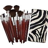 Hsg Makeup Brush Cosmetic Brush Kit Professional Makeup Brush Tools Set(18 Pieces Brown Brushes And Zebra Stripe Bag)