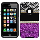 Otterbox Commuter Glitter Purple with Diamonds Case For Apple iPhone 4