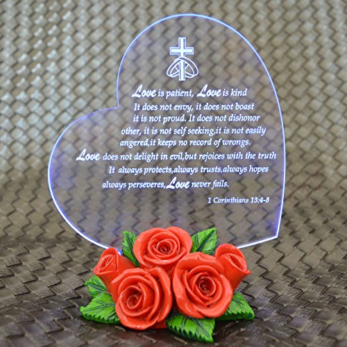 Giftgarden® Wedding Day Gifts Heart on LED Lighted Base Red Rose Statue
