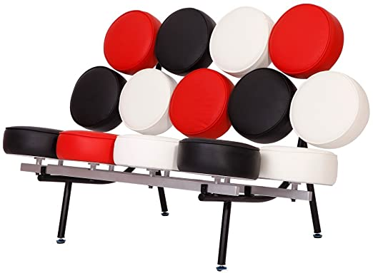 MLF® George Nelson Style Marshmallow Sofa in Premium Italian Leather (Black, White and Red)