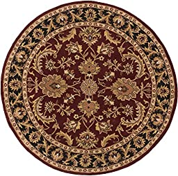 Red Rug Classic Design 3-Foot 6-Inch Round Hand-Made Traditional Wool Carpet