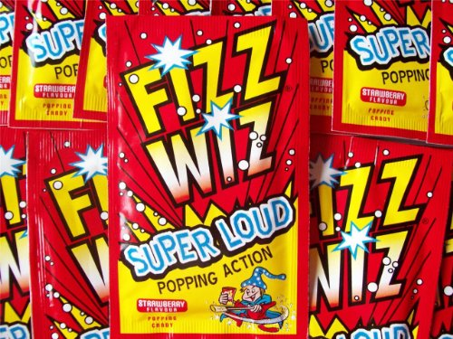 Fizz Wiz Super Loud Popping Candy.  We all remember the delight of putting this stuff in our mouths during our childhood. Relive those happy times with this strawberry space dust which comes as a pack of 10 - an ideal extra treat for your party guests.