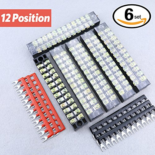 Hilitchi 12pcs 600V 15A 12 Position Double Row Screw Terminal Strip and 400V 10A 12 Postions Red /Black Pre Insulated Terminal Barrier Strip (12 Position Terminal Strip compare prices)