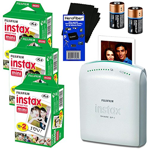 Fujifilm-Instax-Share-SP-1-Smartphone-Printer-Fujifilm-Instax-Mini-Instant-Film-60-sheets-2-CR2-Lithium-Replacement-Batteries-HeroFiber-Ultra-Gentle-Cleaning-Cloth