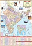 India Political Map. Telangana Included (70x100 cm)