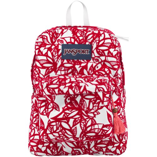 JanSport High Stakes Backpack – Coral Dusk Jungle Adventure / 16.7H x 13W x 8.5D
