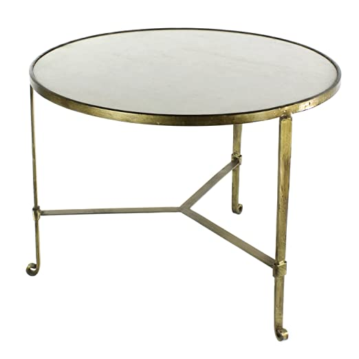 HomArt Savoy Iron & Stone Coffee Table (Antique Brass with White Marble)