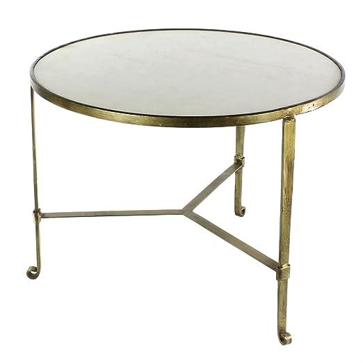 HomArt Savoy Iron & Stone Coffee Table (Antique Brass with White Marble)