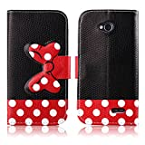 Fashion Youth Series Cute Design Black Red Bow Bowknot Polka Dot Wallet Flip Case Folio PU Leather Stand Cover with Card Slots for LG L70 Optimus D320 + Free Lovely Gift