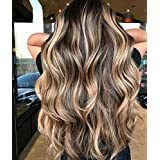 Ugeat 20Inch Front Lace Wig Balayage Ombre Dark Brown Fading to Brown with Blonde Long Wigs Natural Looking Wavy Human Hair Lace Frontal Real Looking Wigs 130% Density (Color: Balayage Dark Brown with Blonde, Tamaño: 20inch)