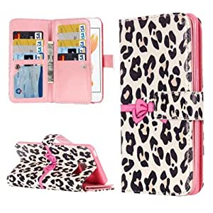 Crazy4Gadget For iPhone 7 White Leopard Embossed Pattern Horizontal Flip Leather Case with 9 Card Slots & Wallet & Holder