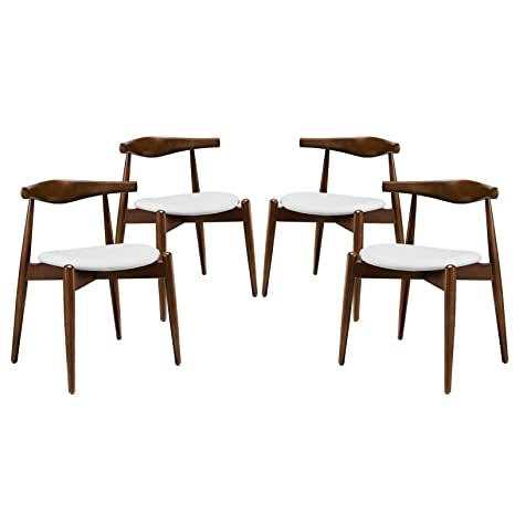 Stalwart Dining Side Chairs Set of 4 - Dark Walnut White