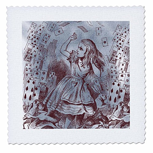 3dRose qs_110209_1 Alice with Playing Cards Vintage Alice in Wonderland-Quilt Square, 10 by 10-Inch (Alice In Wonderland Quilt compare prices)