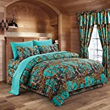 The Woods Teal Camouflage Full 8pc Premium Luxury Comforter, Sheet, Pillowcases, and Bed Skirt Set by Regal Comfort Camo Bedding Set For Hunters Cabin or Rustic Lodge Teens Boys and Girls