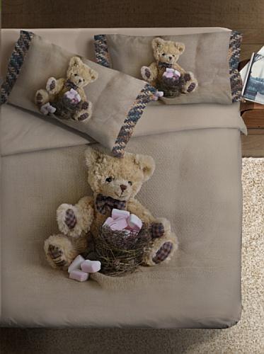 Ipersan Funny Bear Fine-Art Parure Copripiumino Piazzato, Fotografico, Singolo, Cotone, Beige/Marrone, a Una Piazza