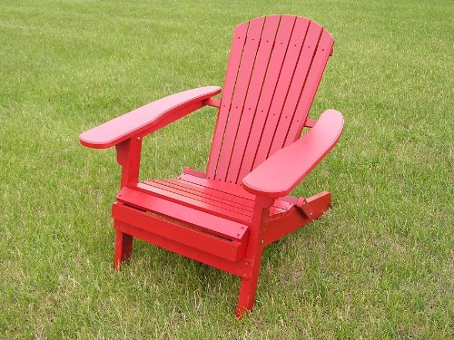 Deluxe White Cedar Big Daddy Folding Adirondack Chair, Barn Red