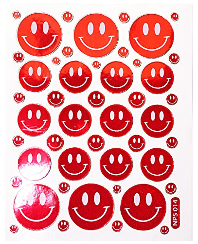Jazzstick 170 Smiling Glitter Face Red Decorative Sticker 10 sheets