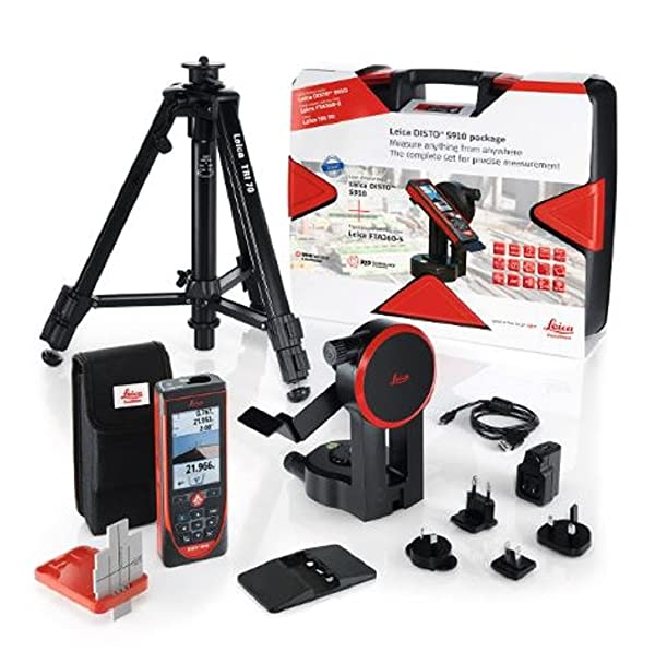 Leica DISTO S910 Pro Pack 984ft Range Laser Distance Measurer Pro Kit, Point to Point Measuring, Hard Case, TRI70 Tripod, FTA360S Adapter, Red/Black (Color: Red/Black)