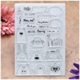 Kwan Crafts Hello Best Friend Miss You Merry Christmas Animal Clear Stamps for Card Making Decoration and DIY Scrapbooking