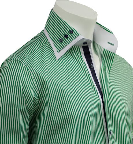 Italian Design Double Collar Men's Formal Casual Shirts Green Strips Slim Fit
