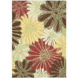 Nourison Home & Garden Indoor/Outdoor 5.3X7.5 Green Area Rug, 100% Polyester