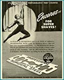 Ballet dancer in 1946 Professional Razor Blades Company advertisement Original Paper Ephemera Authentic Vintage Print Magazine Ad / Article