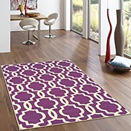 Rubber Backed 3-Piece Rug SET Fancy Moroccan Trellis Purple & Ivory Area Non-Slip Rug - Rana Collection Kitchen Dining Living Hallway Bathroom Pet Entry Rugs RAN204PRL-3PC