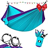 Legit Camping - Double Hammock - Lightweight Parachute Portable Hammocks for Hiking , Travel , Backpacking , Beach , Yard . Gear Includes Nylon Straps & Steel Carabiners (Purple/Teal)